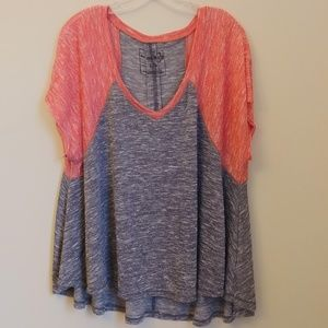 We the Free Free People Gray Pink T-Shirt Top Sz L